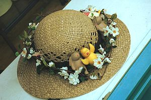An Easter bonnet in a shop window in Conway.