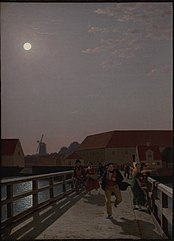 Langebro, Copenhagen, in the Moonlight with Running Figures