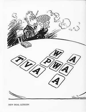 New Deal - 1935 cartoon by Vaughn Shoemaker; he parodied the New Deal as a card game with alphabetical agencies.