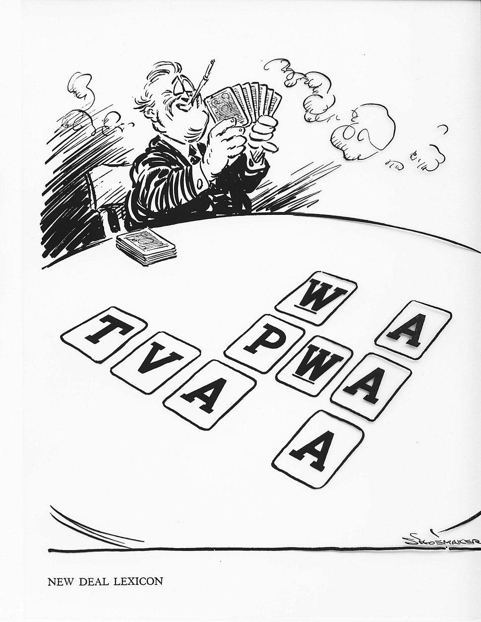 "Editorial cartoon mocking FDR's ""Alphabet agencies"""
