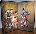 Edo, tankosai fujiwara arinobu, paravento con cortigiane sotto un salice piangente, 1750-1800 ca..JPG