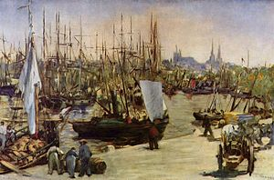 History of Bordeaux wine - Harbour at Bordeaux, Édouard Manet, 1871