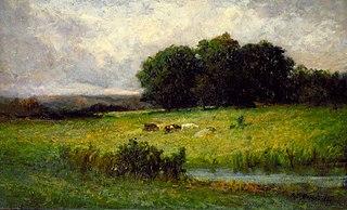 Bright Scene of Cattle near Stream