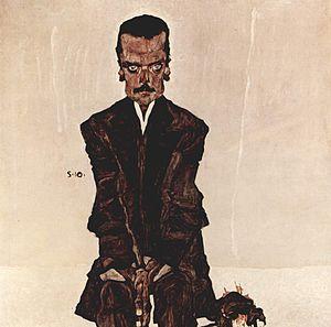 Expressionism - Egon Schiele, 1910, Portrait of Eduard Kosmack, oil on canvas, 100 × 100 cm, Österreichische Galerie Belvedere