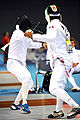 Eli Bremer in 2008 Summer Olympics modern pentathlon fencing event 2.jpg