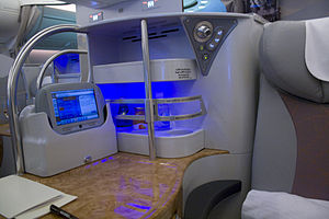 Business travel - Business class seats in aircraft usually provide more space and facilities than the standard class.