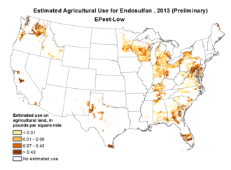 Endosulfan - Endosulfan use in the US in pounds per square mile by county in 2013