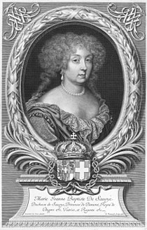 Engraved portrait of Marie Jeanne Baptiste of Savoy by Robert Nanteuil.jpg