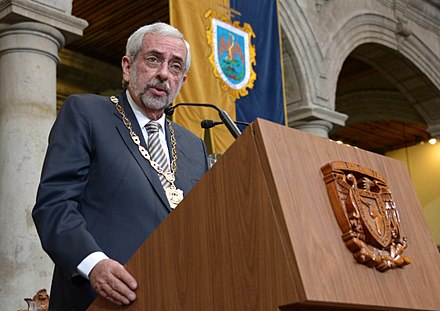 Enrique Graue 34th Rector of the UNAM during his inaugural speech.