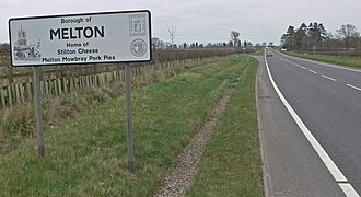 A607 road - Entering the district of Melton at the end of the Rearsby bypass