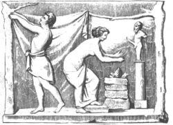 Γυναίκα προσεύχεται στον Πρίαπο, μπροστά από βωμό με αφιερώματα. Σχέδιο από την Πομπηία