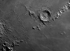 Eratosthenes (crater) - Eratosthenes crater. Photo taken from Earth. Author: Georgi Georgiev, Stara Zagora, Bulgaria.