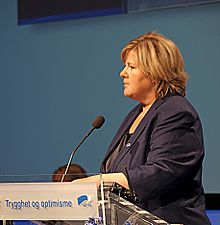 Erna Solberg During A Party Congress In