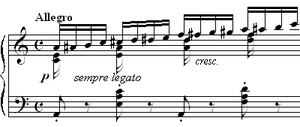Étude - Frédéric Chopin's Étude Op. 10, No. 2: a rapid chromatic scale in the right hand is used to develop the weaker fingers of the right hand. Most études are written to perfect a particular technical skill.