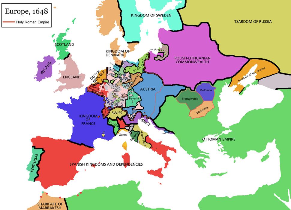 Europe map 1648