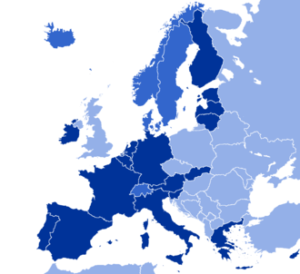 GNI PPP per capita of Europe according to the World Bank, 2017. Nations in the Eurozone, at 44,000 USD Nations with a GNI PPP per capita above 44,000 USD Nations with a GNI PPP per capita below 44,000 USD European GNI PPP Per Capita 2017.png