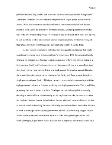 Single mothers essay papers
