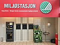 Extra Coop Supermarket, Amfi Shopping mall, Osøyro, Hordaland, Norway, 2018-03-22. Bottle reverse vending machine, etc. (Miljøstasjon, panteautomat, retur av flasker, batterier, lyspærer, svanemerket, etc.) A.jpg