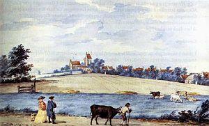 Ezinge - Esinge in 't Westerkwartier van Groeningen, aquarelle from 1772 by Aert Schouman (1710-1792)