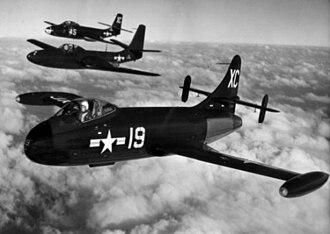Vought F6U Pirate - Image: F6U FH and F2H in flight