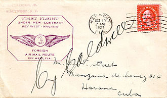 Pan American World Airways - Flown cover autographed by pilot Cy Caldwell and carried from Key West, FL, to Havana, Cuba, on the first contract air mail flight operated by Pan American Airways, Oct 19, 1927