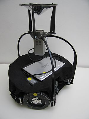 Omnidirectional camera - A robot in the RoboCup Midsize league (2005), equipped with an omnidirectional camera.