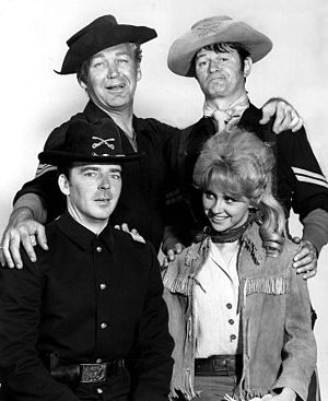 F Troop - Main cast (clockwise from top left): Forrest Tucker; Larry Storch; Melody Patterson; Ken Berry.