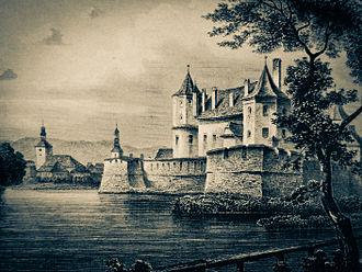 Făgăraș - Engraving of the Făgăraș Citadel by Ludwig Rohbock (by 1883)
