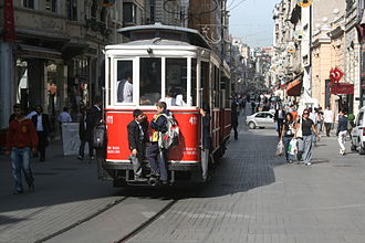 Istanbul nostalgic tramways - Heritage trams are often lowly respected in Istanbul, such as illegal riding like this