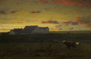 Farm Landscape, Cattle in Pasture—Sunset Nantucket