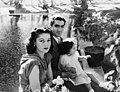 Fawzia Fuad of Egypt with Mohammad Reza Pahlavi and their daughter, Shahnaz Pahlavi.jpg