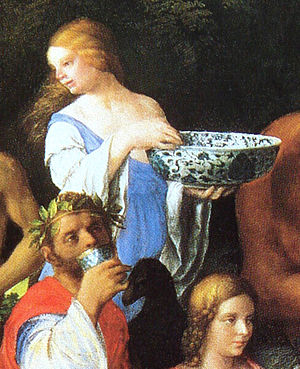 Chinese porcelain in European painting - The Feast of the Gods (detail), Giovanni Bellini, 1514
