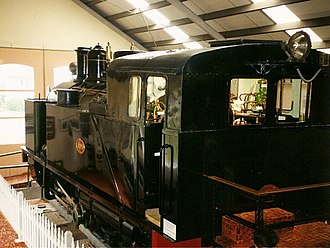 Fell mountain railway system - Preserved Fell locomotive H199 in the Fell Engine Museum, New Zealand, 20 March 2002.
