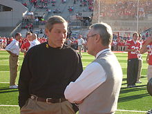 Iowa coach Kirk Ferentz and Ohio State coach Jim Tresseltalk on the field before their teams played on November 14, 2009.