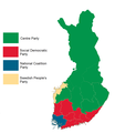 Finnish parliamentary election results by province, 2003.png