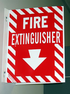 An all-text fire extinguisher sign found in a ...