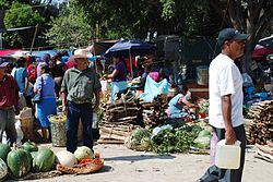 Scene from the weekly market or tianguis of Villa de Zaachila