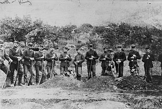 Leper War on Kauaʻi - Soldiers burying the three dead bodies.