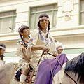 First Nations girls riding in the Calgary Stampede Parade (28324784955).jpg