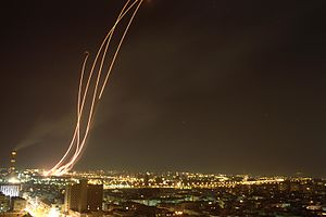 1991 in Israel - Patriot missiles launc to intercept an Iraqi Scud over Tel Aviv