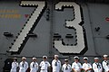 Flickr - Official U.S. Navy Imagery - Sailors take part in a press conference on the flight deck..jpg
