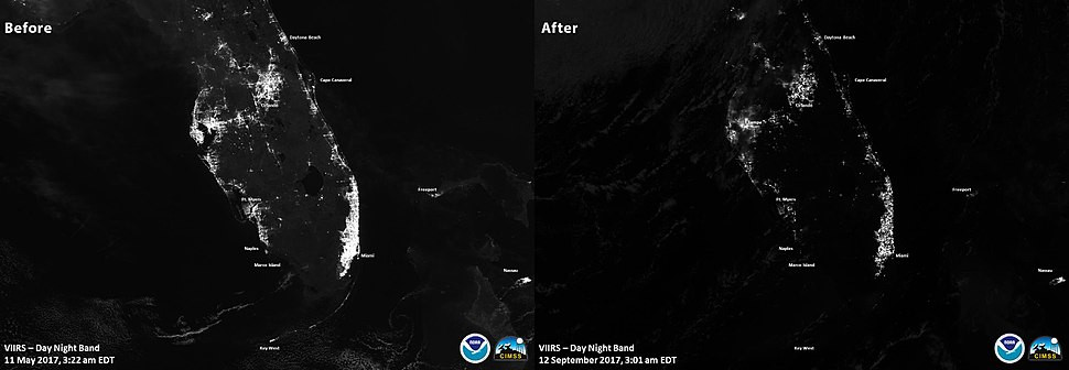 Florida night-time satellite image before-and-after Hurricane Irma
