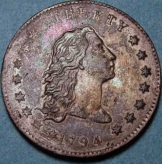 Flowing Hair dollar Coin minted by the United States from 1794 to 1795