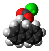 Ball-and-stick model of the fluorenylmethyloxycarbonyl chloride molecule