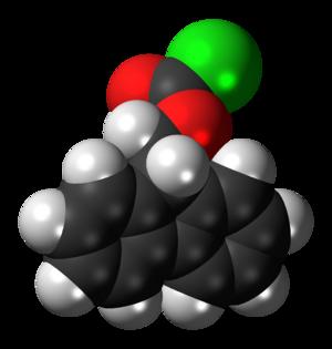 Fluorenylmethyloxycarbonyl chloride - Image: Fluorenylmethyloxyca rbonyl chloride 3D spacefill
