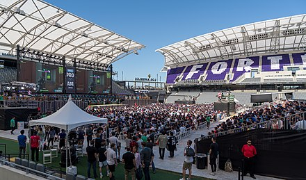 Fortnite Pro-Am event at Banc of California Stadium. Fortnite Pro-Am stadium at E3 2018 3.jpg