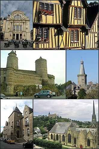 Fougères - From left to right and top to bottom: 1. Victor Hugo Theatre, 2. Timbered house, 3. The château, 4. The belfry, 5. The town hall, 6. The Church of St. Sulpice