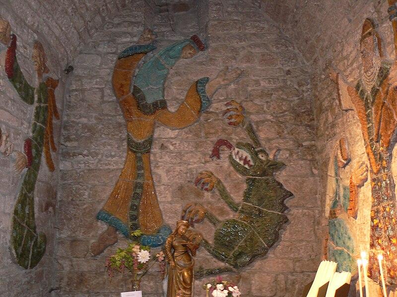 Ennata bekjemper dragen, fra kirken i Sainte-Enimie