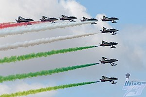Frecce Tricolori, Aermacchi MB-339 PAN, display before the 2019 Italian Grand Prix, Monza, 8th September.jpg