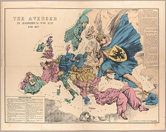 """Great Eastern Crisis - The Avenger: An Allegorical War Map for 1877 by Fred. W. Rose, 1872: This map reflects the """"Great Eastern Crisis"""" and the subsequent Russo-Turkish War of 1877–78."""